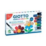 Akriliniai dažai Fila Giotto, 12ml, 12 spalvų