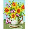 """Deimantinė mozaika EF094 """"Gėlės puodelyje"""""""