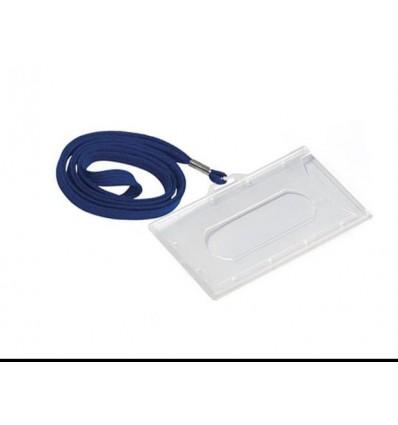 Vardinės kortelės dėklas 90x56mm, su mėlyna virvele